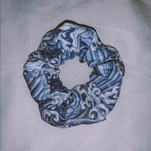 handmade blue wave scrunchie